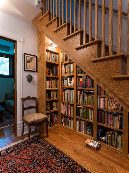 Turn The Space Under Stairs Into A Mini Library