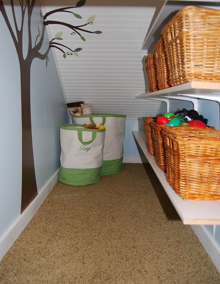 Under the Stairs Storage Closet - Play room toy storage space