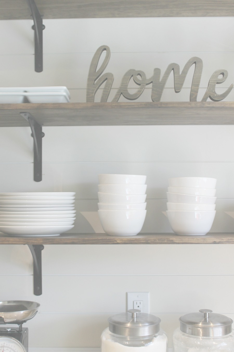 DIY kitchen shelves - farmhouse style, white ceramic bowls and plates