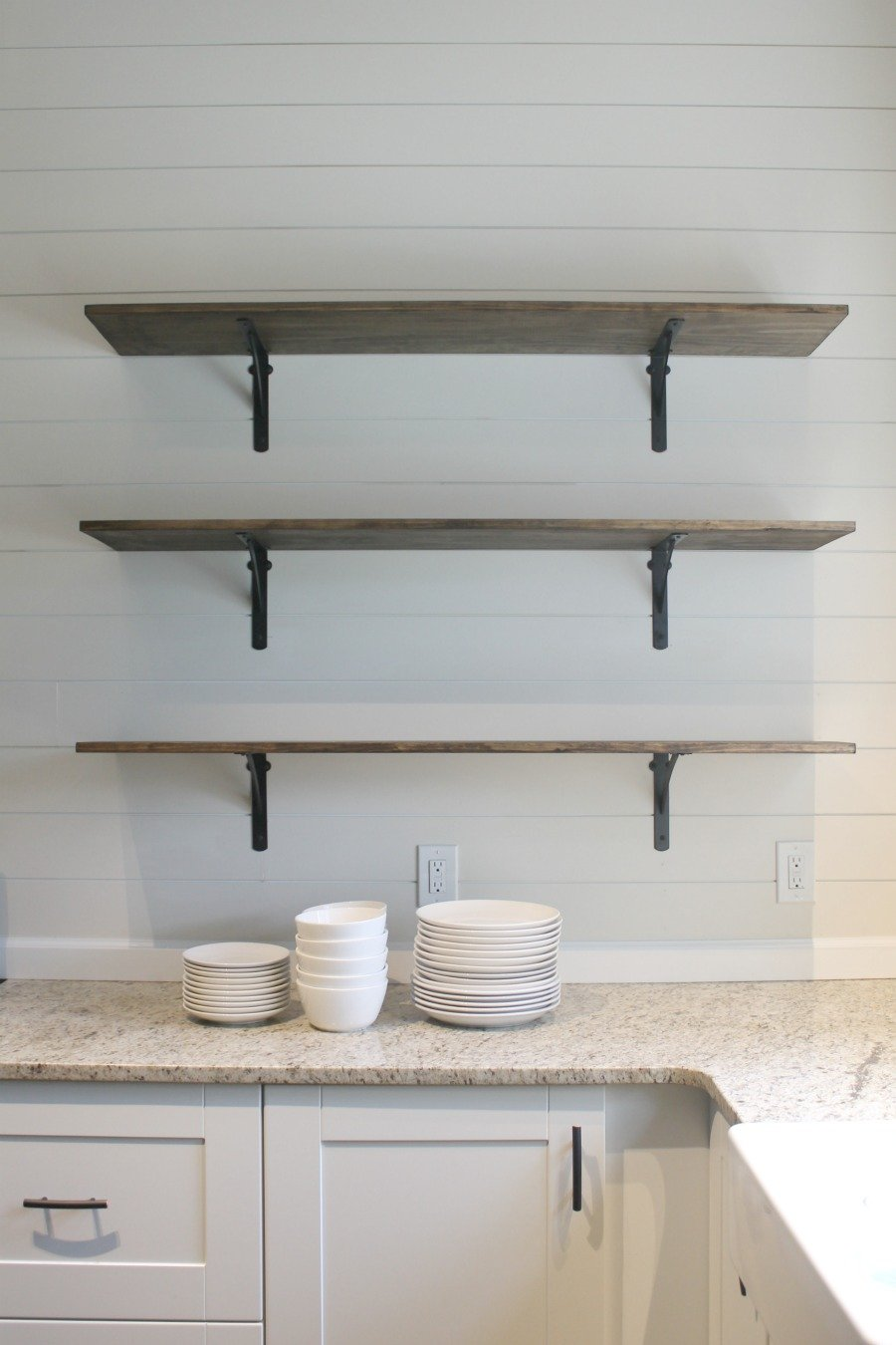 DIY kitchen shelves - open, floating