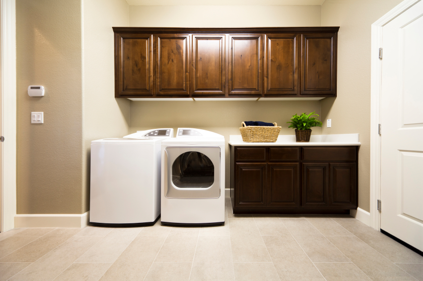 Add greenery to laundry room for pleasant atmosphere
