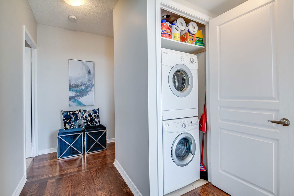 Space saving laundry appliances to organize the laundry room