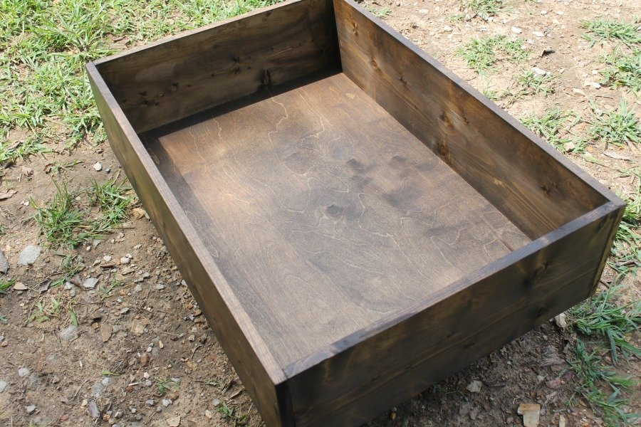 Stained DIY Drawer for Under Bed Storage