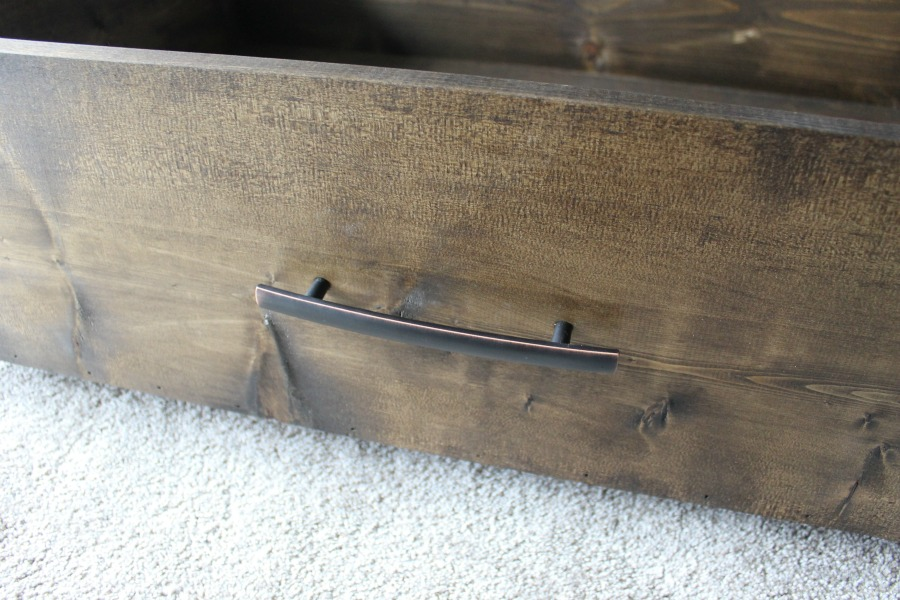 Handle Added to DIY Under the Bed Storage Drawer