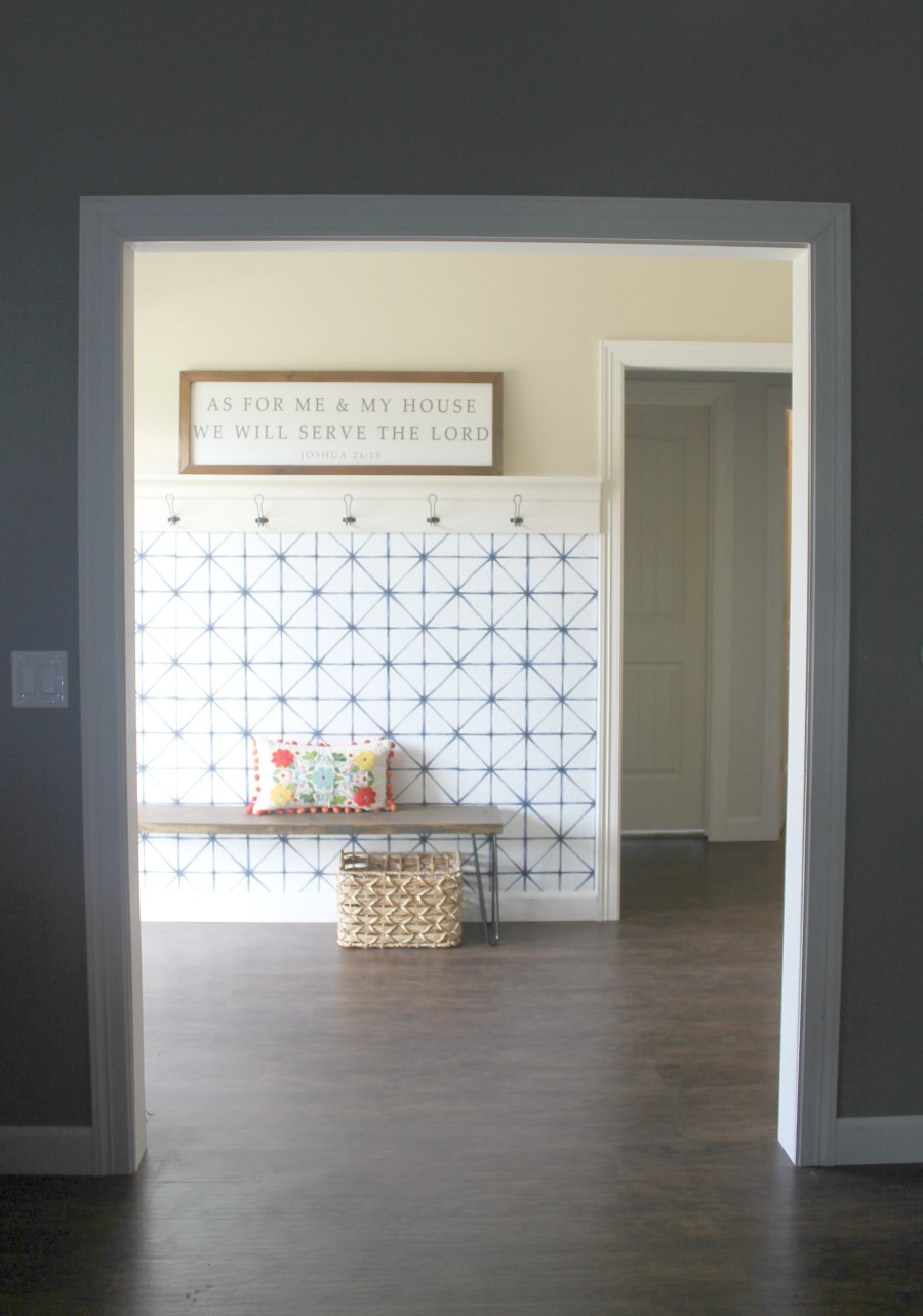easy entryway makeover with shelf and cute bench