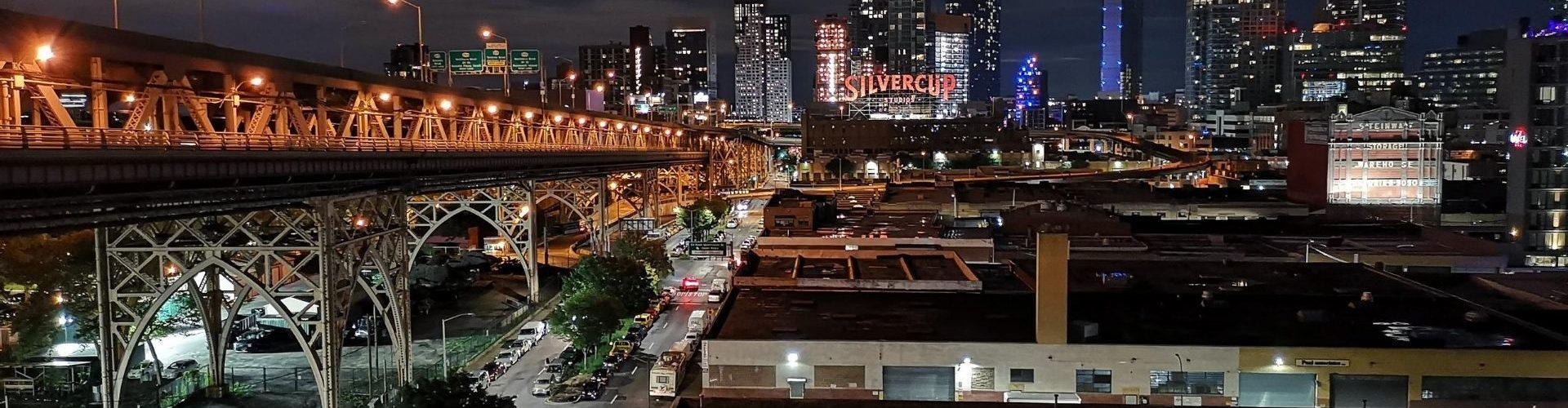 Queens New York at Night Over Bridge